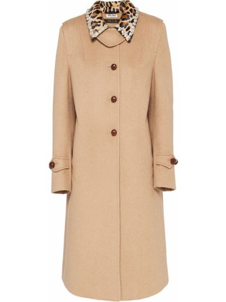 Коричневое шерстяное длинное пальто с воротником на пуговицах Miu Miu