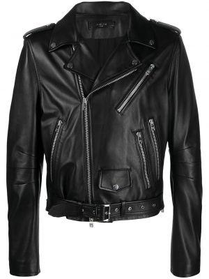 Кожаная куртка на молнии - черная Amiri
