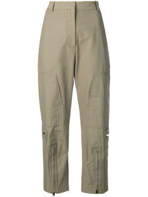 Хлопковые зеленые брюки милитари с высокой посадкой Stella Mccartney