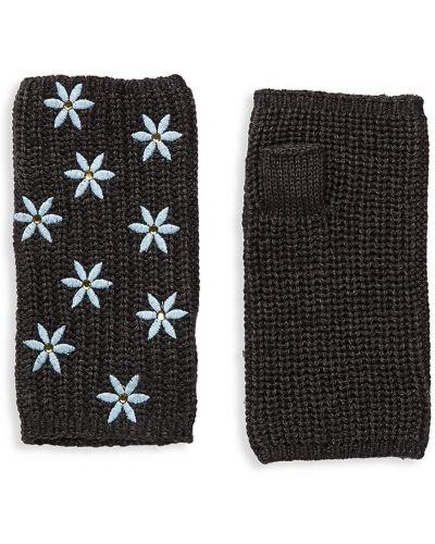 Rękawiczki bez palców wełniane - czarne Carolyn Rowan Collection
