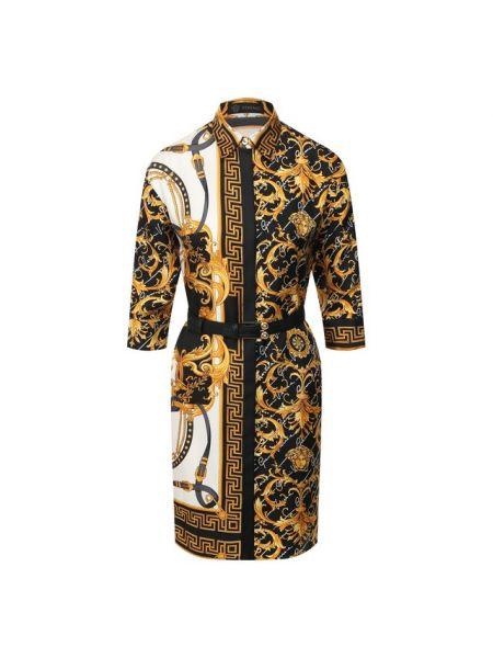 Платье с поясом шелковое кожаное Versace