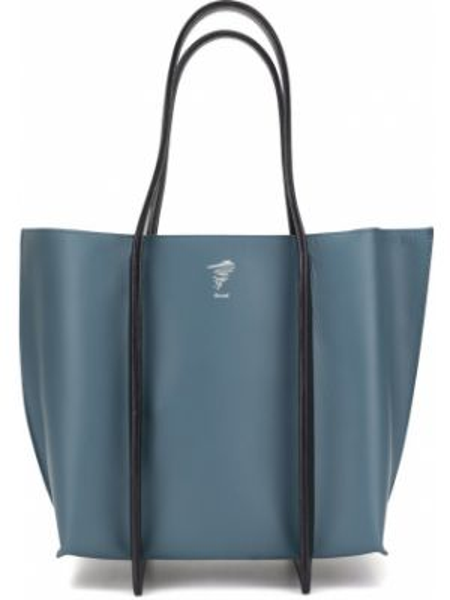 Кожаная синяя сумка-тоут с карманами Discord Yohji Yamamoto