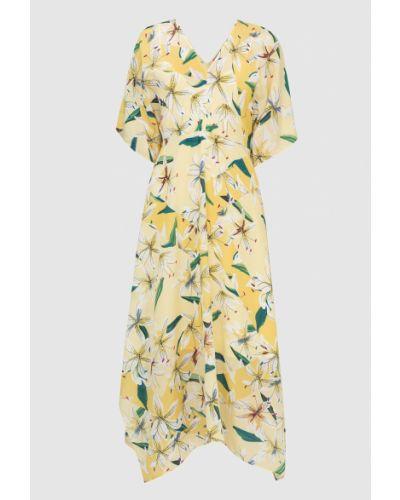 Шелковое платье миди - желтое Max & Co
