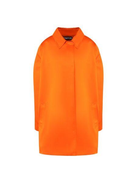 Оранжевое шелковое пальто с подкладкой Tom Ford