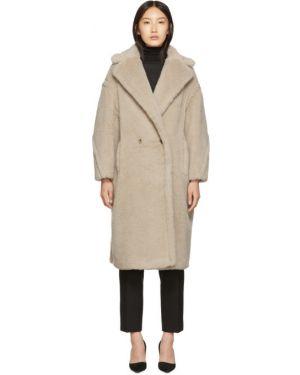 Коралловое шерстяное длинное пальто с воротником Max Mara