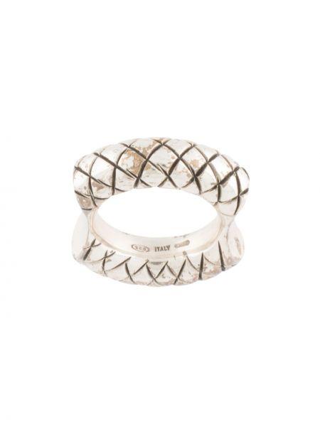 Z rombem srebro pierścień z diamentem Bottega Veneta Pre-owned