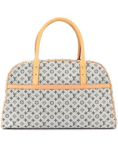 Синяя парусиновая кожаная сумка круглая Louis Vuitton Pre-owned