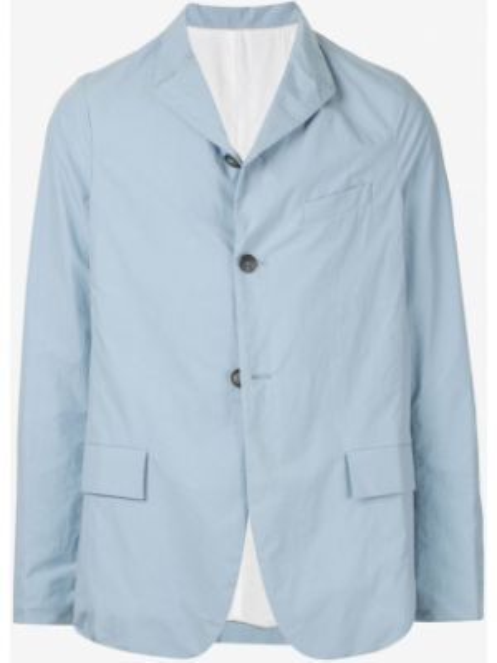 Синий однобортный пиджак на пуговицах с карманами Bergfabel
