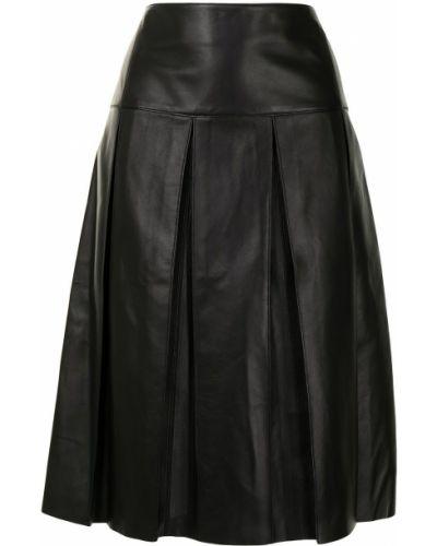 С завышенной талией черная юбка со складками Salvatore Ferragamo