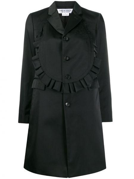 Однобортное черное длинное пальто с капюшоном Comme Des Garçons Comme Des Garçons