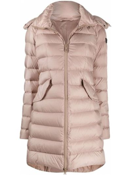 Пуховое розовое стеганое пальто двустороннее с перьями Peuterey