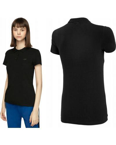 Bawełna z rękawami czarny t-shirt 4f