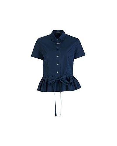Хлопковая синяя рубашка для офиса Van Laack