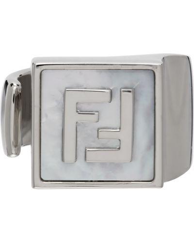 Pierścionek srebrny perły Fendi