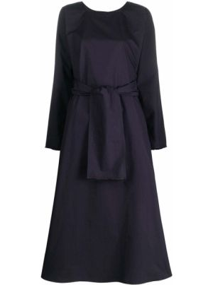 Синее расклешенное платье миди с вырезом квадратное Daniela Gregis
