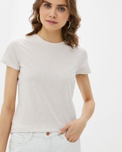 Бежевая футболка с короткими рукавами Q/s Designed By