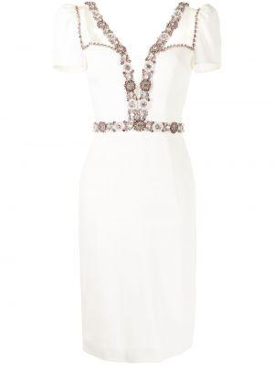 Прямое белое платье миди с короткими рукавами Jenny Packham