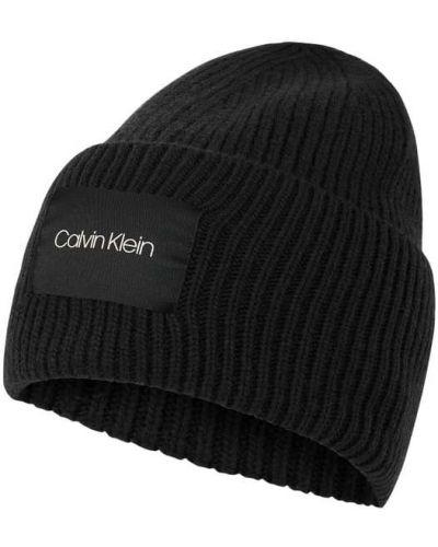 Kaszmir czarny czapka baseballowa z paskami Ck Calvin Klein