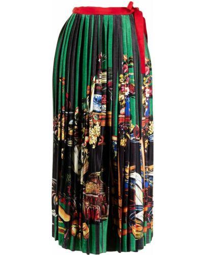 Зеленая плиссированная юбка Stella Jean