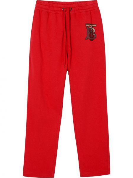Хлопковые красные спортивные брюки с вышивкой с поясом Burberry