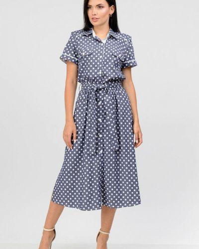 Синее платье рубашка Raslov