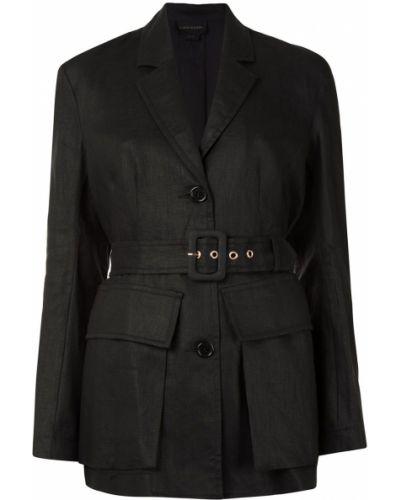 Льняной однобортный черный удлиненный пиджак Karen Walker