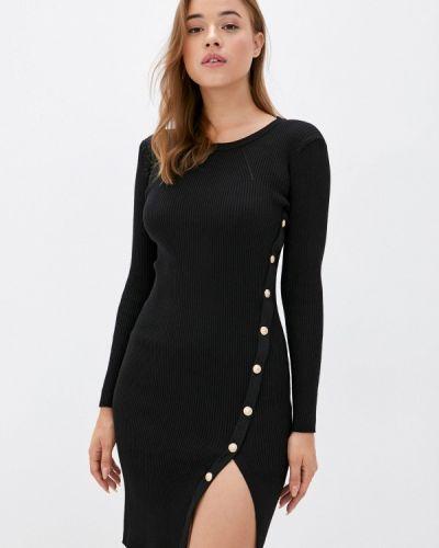 Ватное хлопковое черное платье-футляр Fresh Cotton