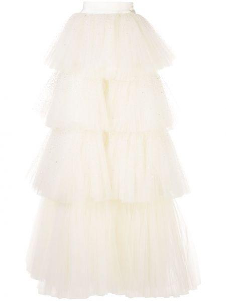 Белая нейлоновая с завышенной талией юбка макси Oscar De La Renta