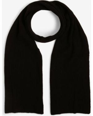 Prążkowany z kaszmiru czarny szalik Finshley & Harding