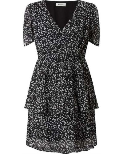 Sukienka rozkloszowana krótki rękaw - czarna Modström