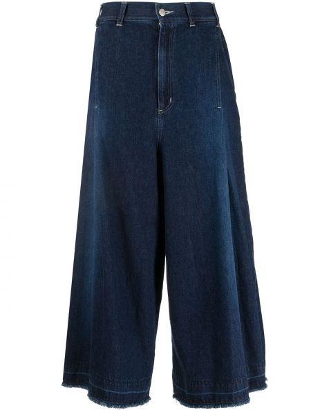 Широкие джинсы с завышенной талией - синие Zucca