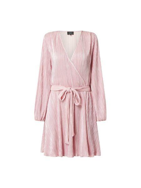 Sukienka rozkloszowana z wiązaniami - różowa Bardot
