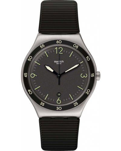 Акриловые черные со стрелками часы водонепроницаемые Swatch