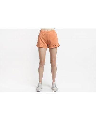 Pomarańczowe krótkie szorty z wysokim stanem bawełniane Champion