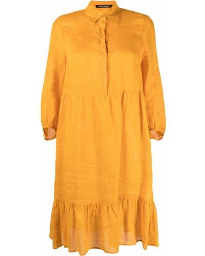 Желтое платье миди с воротником на пуговицах Luisa Cerano