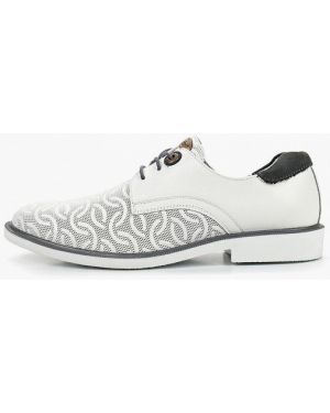 Кожаные ботинки белые на каблуке Shoiberg