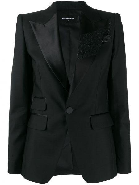 Czarna długa kurtka wełniana z długimi rękawami Dsquared2