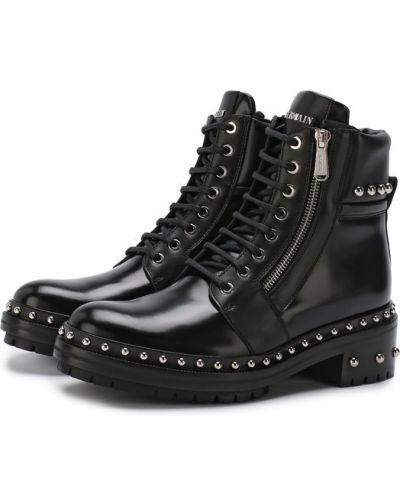 Ботинки байкерские с заклепками кожаные Balmain