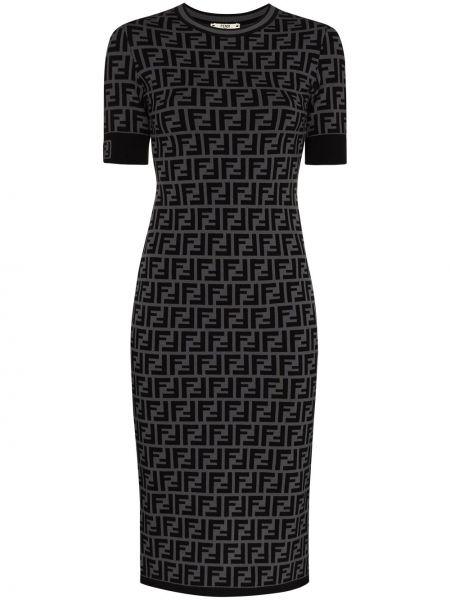 Серое приталенное платье миди из вискозы Fendi