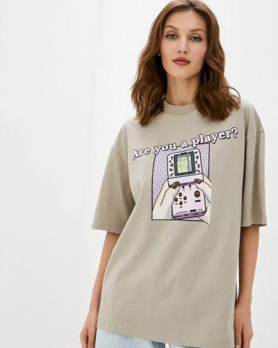 Бежевая футболка с короткими рукавами Miss Sixty