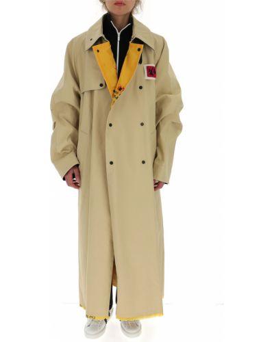 Beżowy płaszcz bawełniany zapinane na guziki Off-white