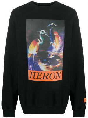 Bawełna z rękawami czarny bluza z łatami Heron Preston