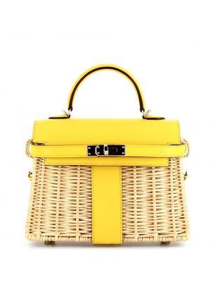 Желтая плетеная кожаная сумка на плечо Hermes