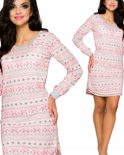Różowa koszula nocna bawełniana z długimi rękawami Taro