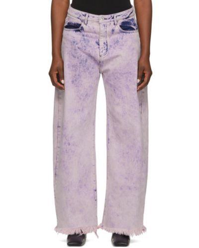 Ватные хлопковые розовые джинсы бойфренды стрейч Marques Almeida