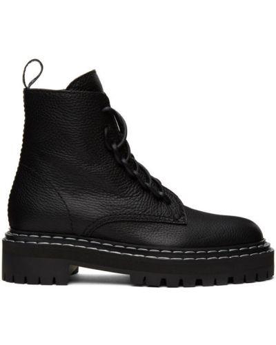 Skórzany czarny buty na pięcie okrągły zasznurować Proenza Schouler