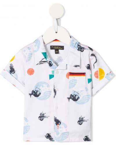 Biała klasyczna koszula krótki rękaw bawełniana Velveteen