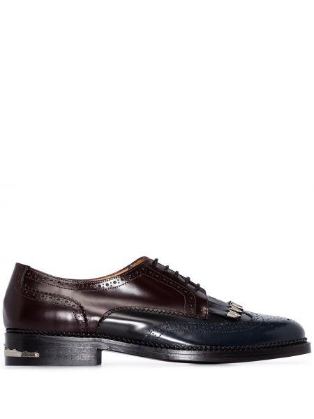Синие броги на шнуровке с перфорацией на каблуке Toga Virilis