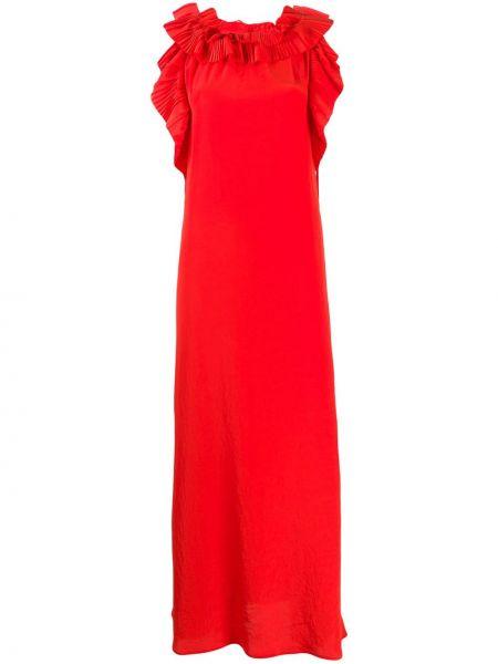 Прямое вечернее платье с воротником с оборками без рукавов P.a.r.o.s.h.