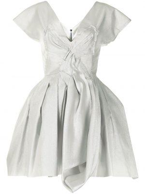Sukienka mini srebrna krótki rękaw z dekoltem w serek Maticevski